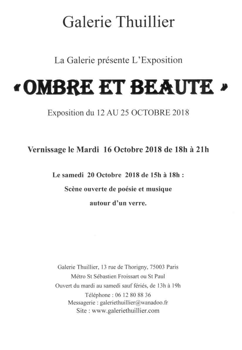 Galerie Thuillier - Exposition du 12 au 25 octobre 2018 - Carte Invitation - Recto